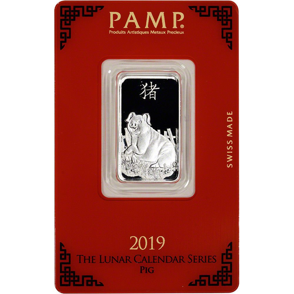 10 Gram Silver Bar Pamp Suisse Lunar Year Of The Pig 999 Fine In Assay Silver Bars Year Of The Pig Lunar Year