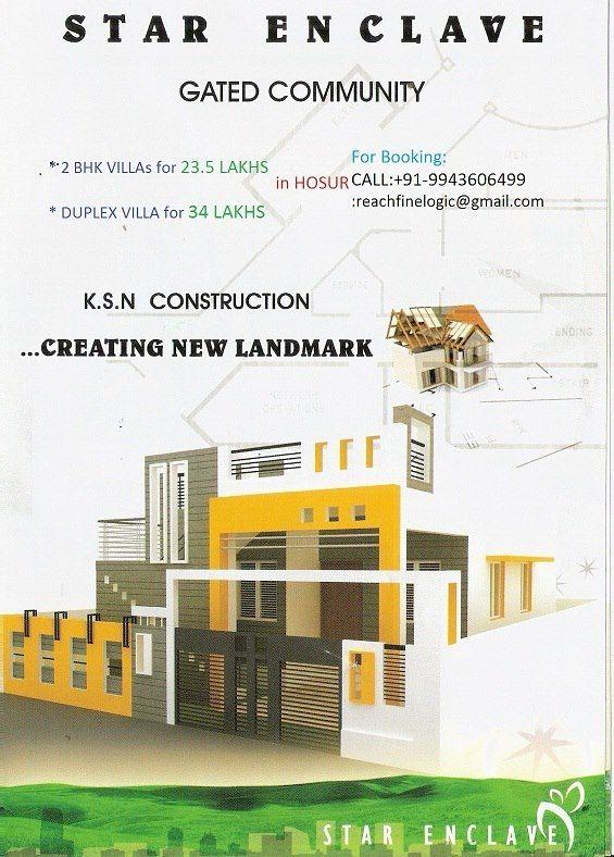 LUXURY 2 BHK VILLAS for 23.5 LAKHS in HOSUR & 3BHK Duplex