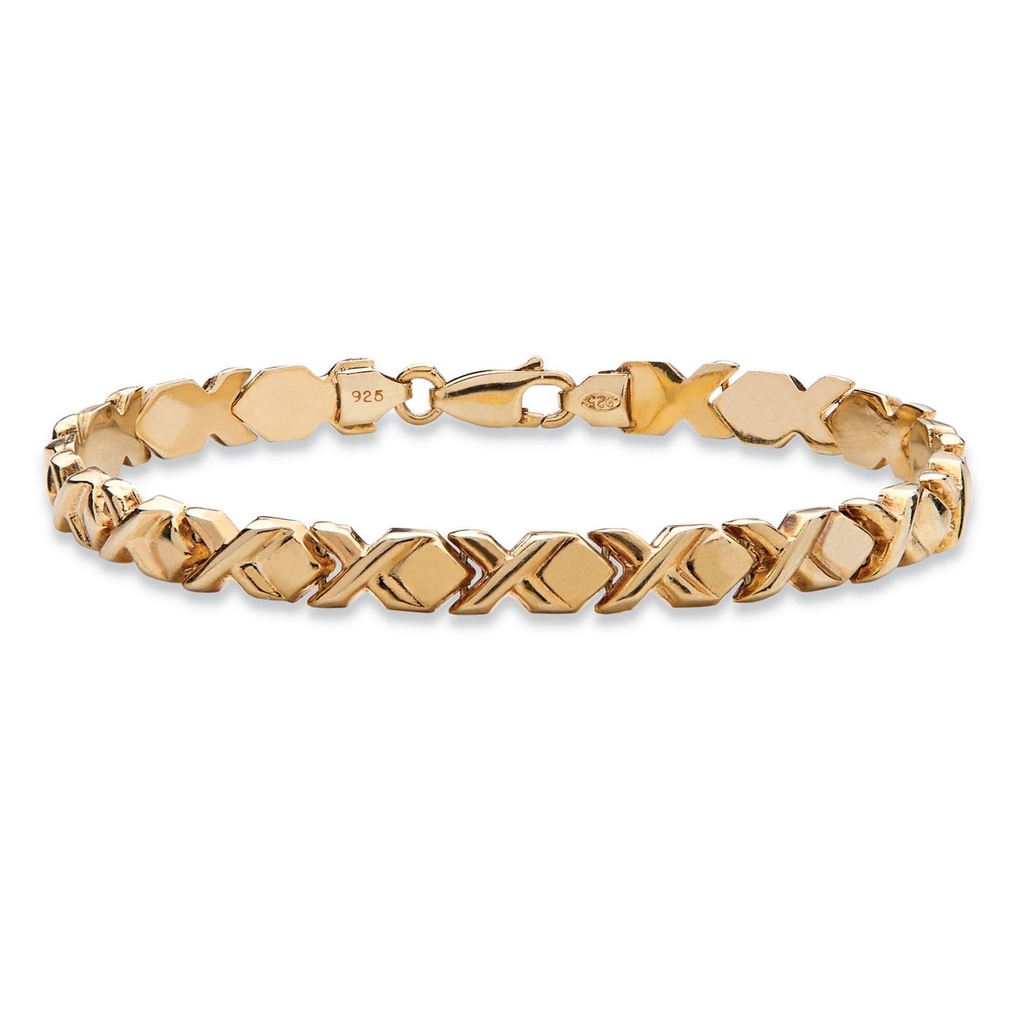 Palm Beach Jewelry PalmBeach 14k Gold over Silver Stampato-Link Bracelet