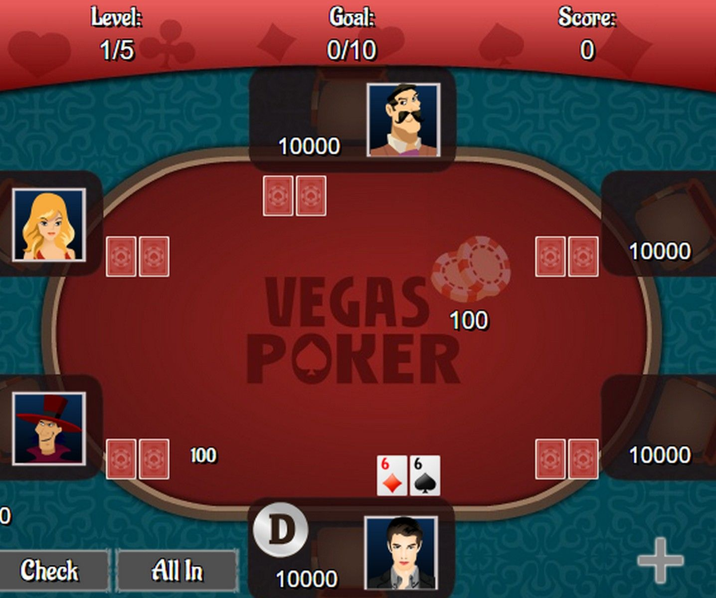 Play Texas Hold'em poker against 5 computer opponents. Try