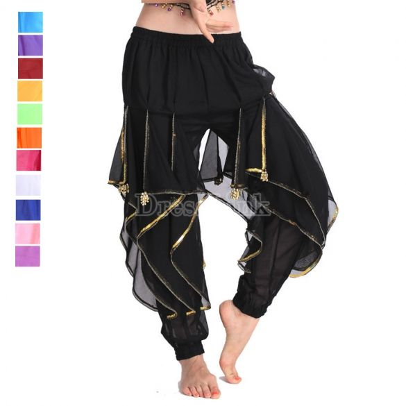 Women's Belly Dance Pants Trousers Chiffon Performance Clothing