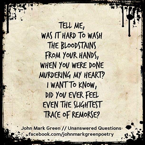 Unanswered Questions Sad Poem By John Mark Green