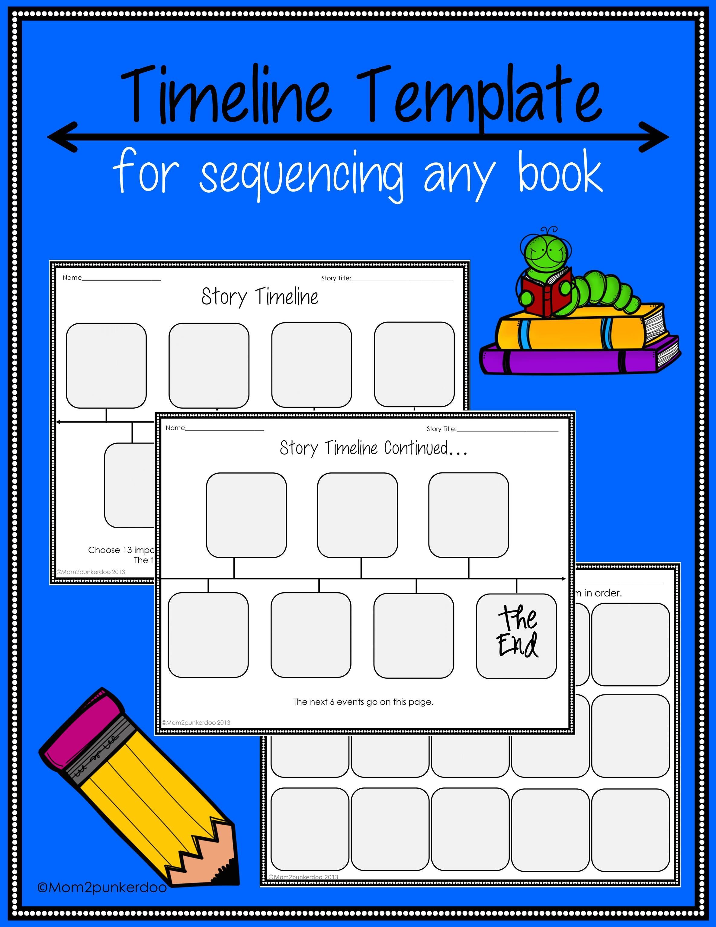 Simple story timeline template for sequencing any book. $ #timeline