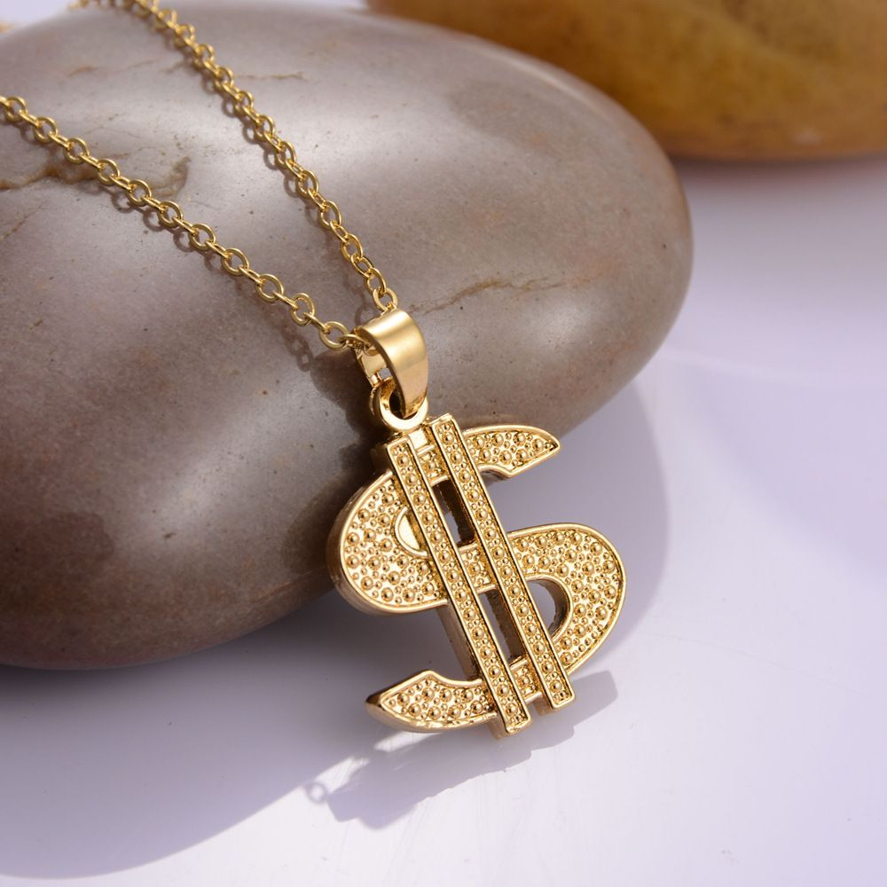 Gold plated hip hop dollar sign chain dollar with rhinestone pendant