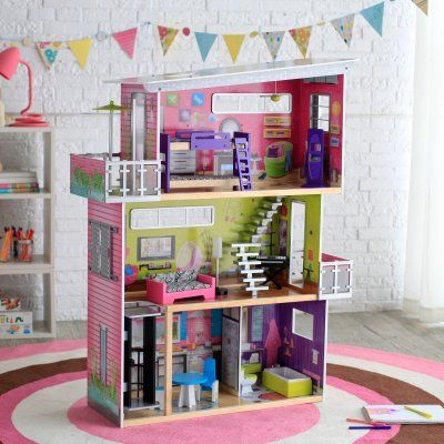 134.98 The KidKraft Modern Mansion Dollhouse with Lights and Sounds is the perfect gift for a special little girl with a vivid imagination! This three-story dollhouse is packed with incredible features.