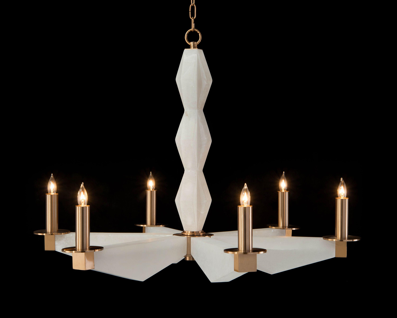 sculptural alabaster brass six light chandelier john richards