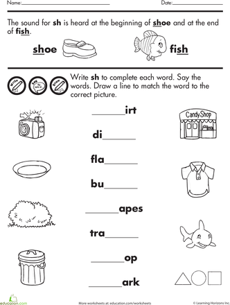 Words With Sh Worksheet Education Com Beginning Sounds Worksheets Phonics Worksheets Teaching Digraphs