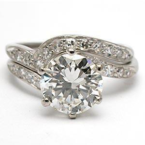 VINTAGE ESTATE ENGAGEMENT RING DIAMOND BRIDAL SET SOLID PLATINUM