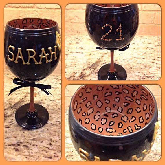 Leopard Print Wine Glass by OneChelleOfAMug on Etsy