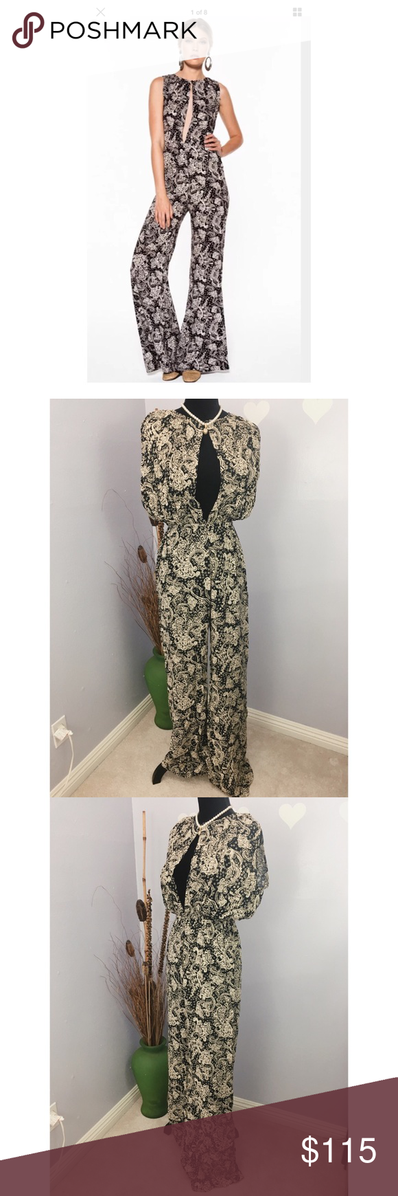 Novella Royale Free People Lana Jumpsuit Sz L NWT I dont take credit for stock photo. This is brand new with tag, never been tried nor worn.  Size label L, please refer to measurement provided.  It comes with a tie belt. Elastic Waist For color reference please refer to the rest of the pictures , NOT the stock photo. Stock photo only to give an idea on how it looks in person.  100% rayon.   Laid flat, measurements might be off couple inches: Length: 64.5 Armpit across: 19 Waist non stretch…