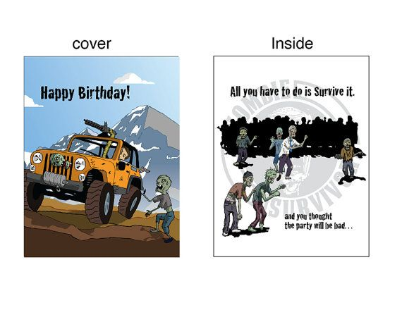 Jeeping and Zombies Birthday Card by ZombieSurvivorz on Etsy, $5.00
