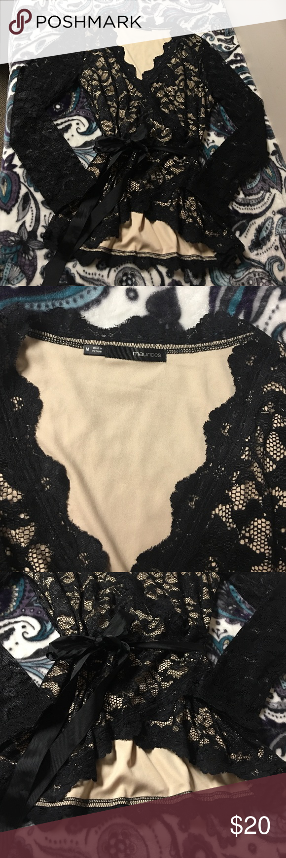 Lace Long Sleeve Blouse Worn once to a Christmas party. Gorgeous and very sexy 😉 Maurices Tops Blouses