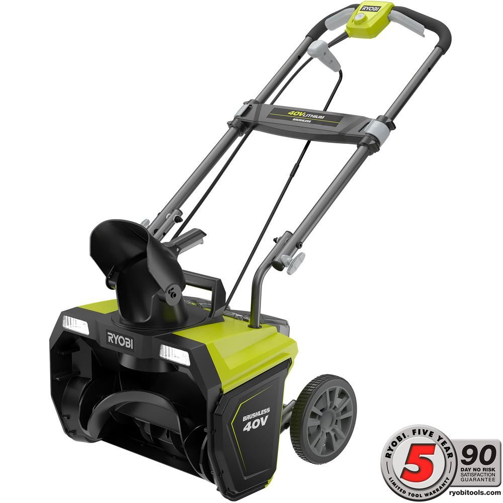 Ryobi 20 In 40 Volt Brushless Cordless Electric Snow Blower With 4