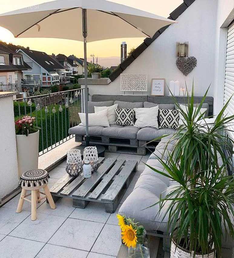 Ideas Para Decorar Tu Jardín Patio O Terraza Con Palets Decoracion De Terrazas Pequeñas Diseño De Terraza Decoración De Patio Exterior