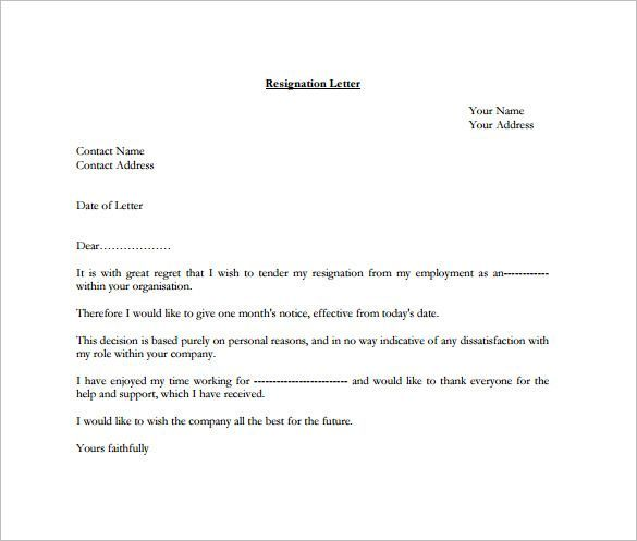 Formal Resignation Letter Template \u2013 10+ Free Word, Excel, PDF - sample resignation letter format example