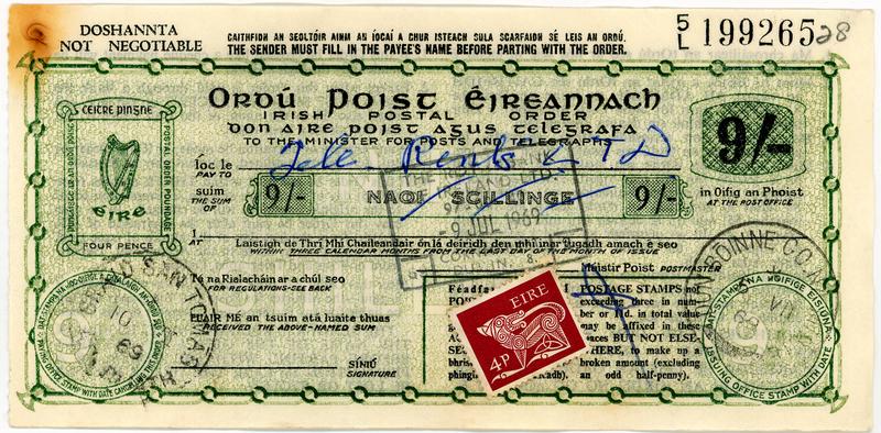 English Irish 9 shilling Postal Order with additional