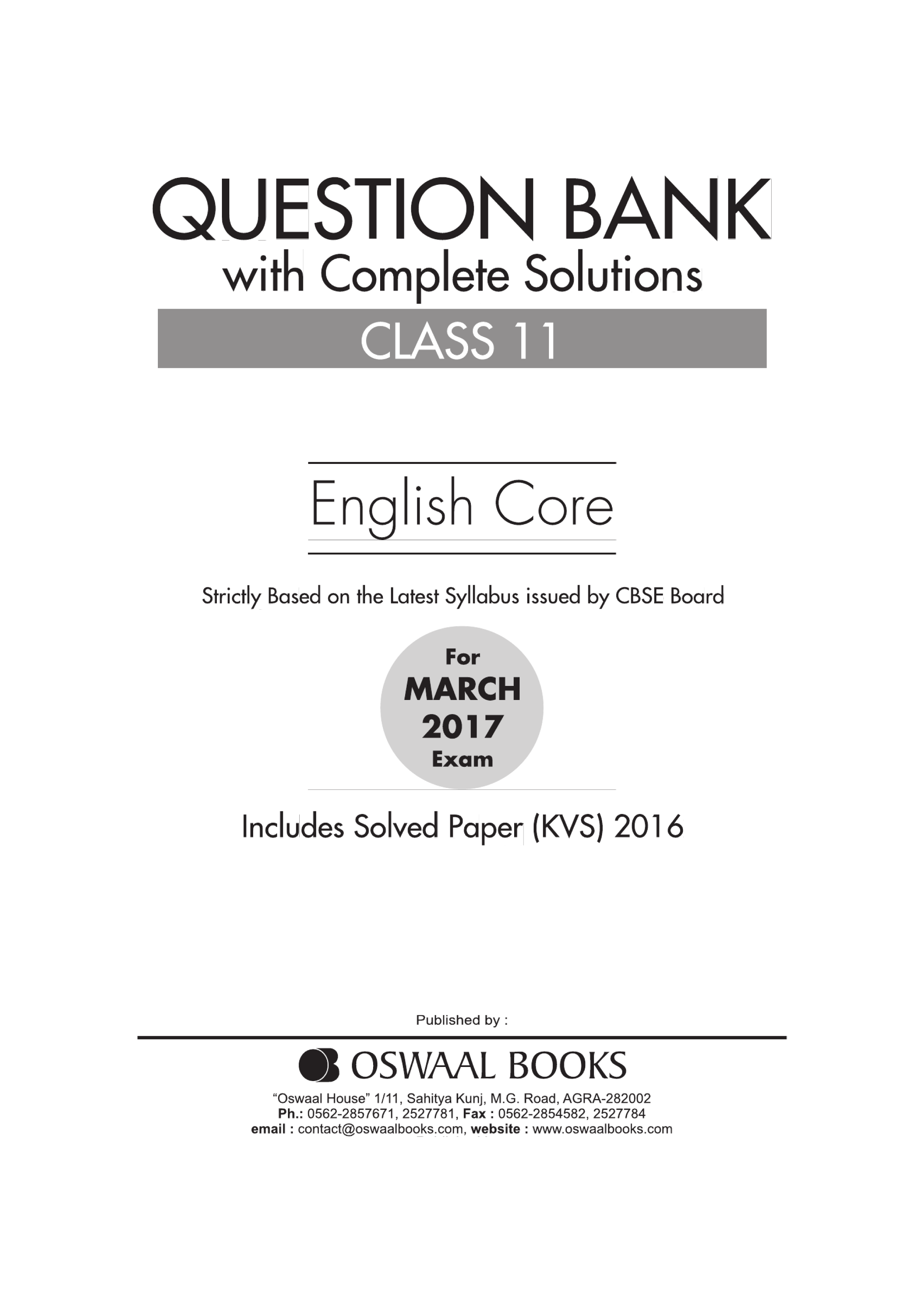 Oswaal CBSE Question Bank With Complete Solutions for Class