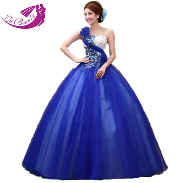 b5cd4f2fefd Royal Blue Quinceanera Dresses Ball Gown One Shoulder Applique Floral  Crystal Beading Vestido De Debutante WA077