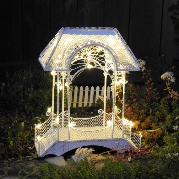 Reserved for shelby festive vintage miniature wedding gazebo or reserved for shelby festive vintage miniature wedding gazebo or fairy garden gazebo with outdoor fairy light string light timer rare aloadofball Gallery