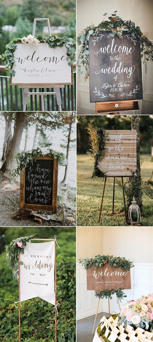 Chic Greenery Wedding Signs for  Trends  Wedding  Pinterest