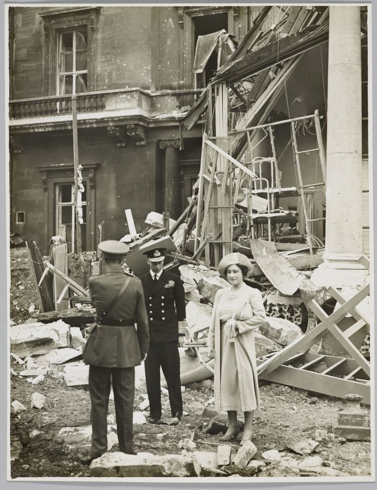 King George Vi And Queen Elizabeth Inspecting The Bombed