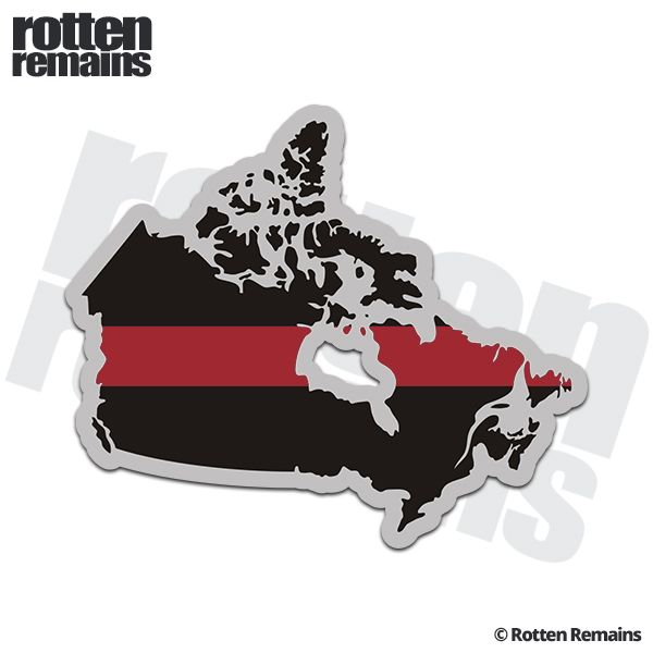 Canada map thin red line decal firefighter fire rescue vinyl sticker