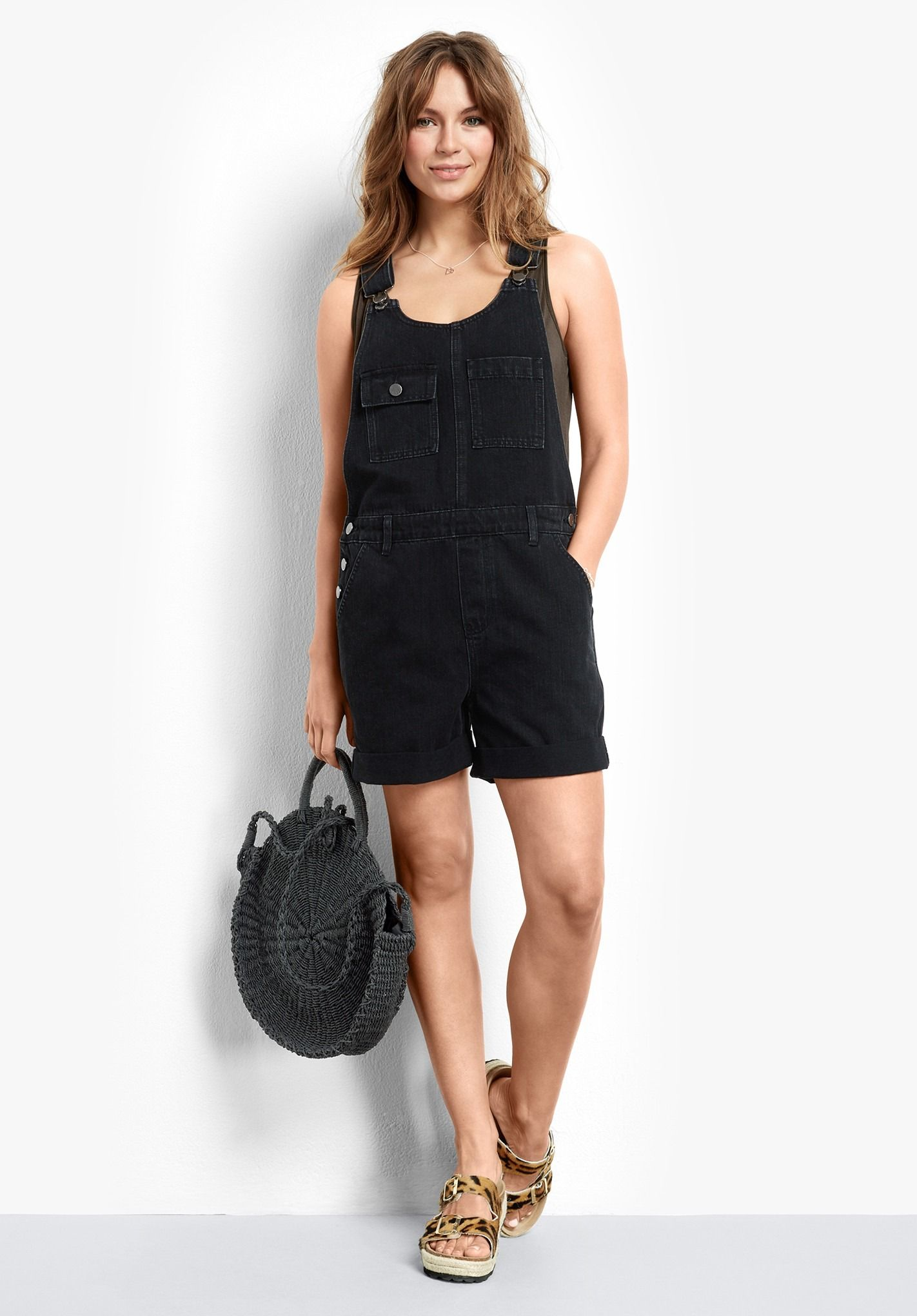 03834706603 A must-have this season, our short denim dungarees are perfect for weekend  style. Pair with our Cotton Slub V tee and Brighton sandals for an  effortless ...