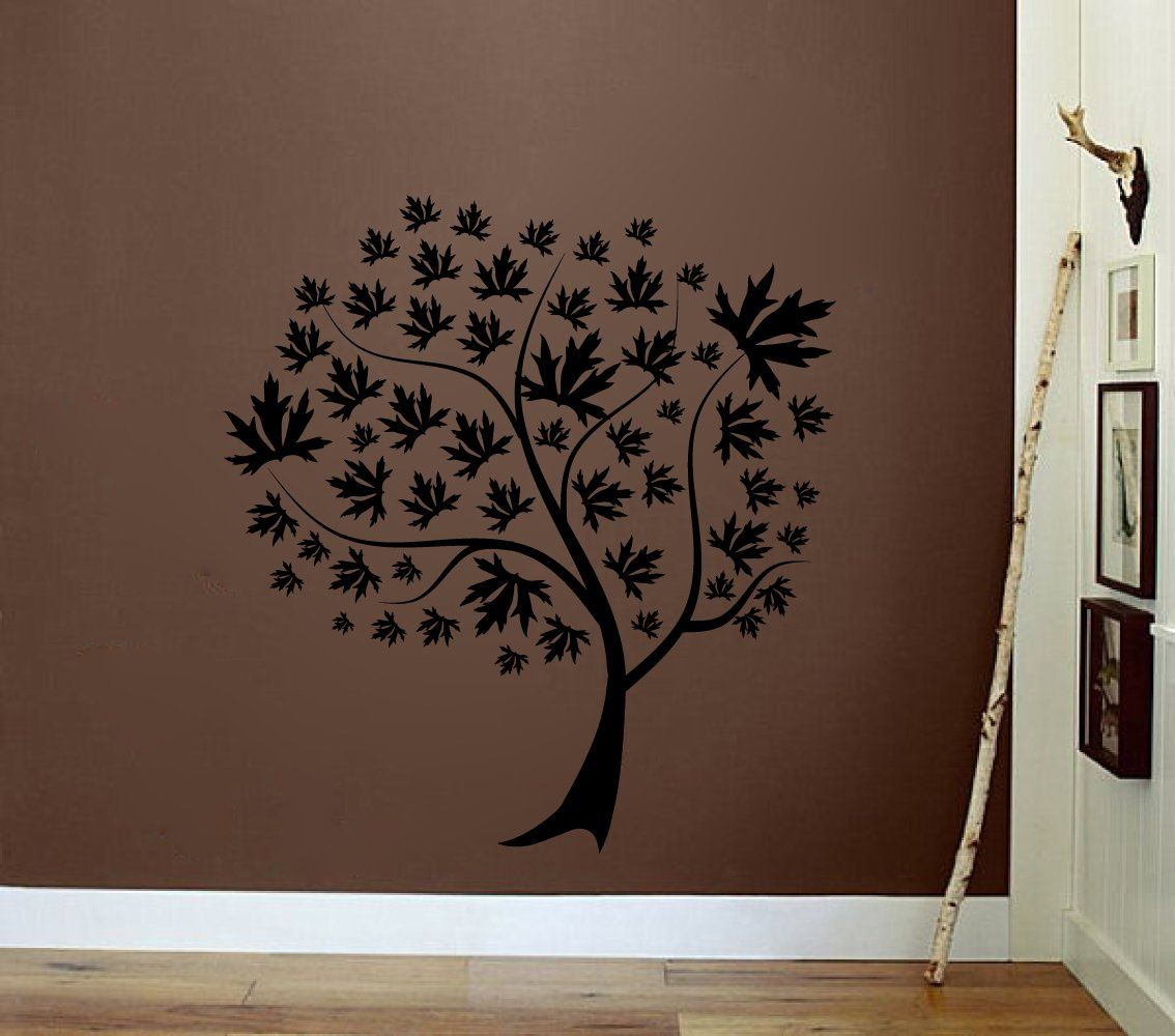 Leafy Maple Tree Silhouette Vinyl Wall Decal Sticker Graphic - Vinyl wall decals application instructions