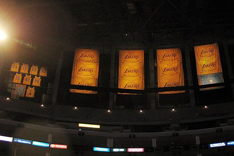Championship Banners Lakers Retired Jerseys And Honored Minneapolis Lakers Banner Hanging In The Rafters Of Staples Center