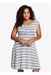 Plus Size Striped Dolman Skater Dress $54.50