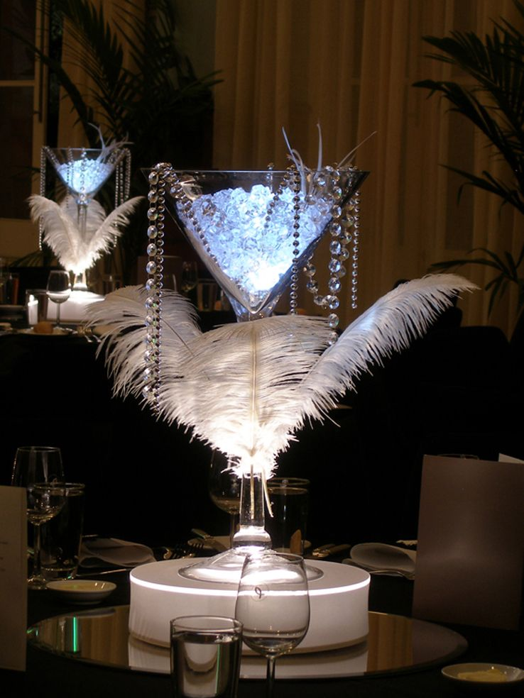 Great Gatsby Themed Centerpiece A Martini Vase On A Light