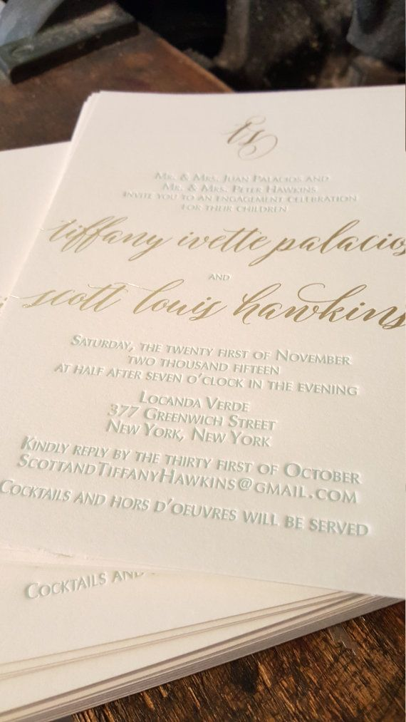 Gold Foil and Letterpress Engagement Party Invitations, Gold and ...