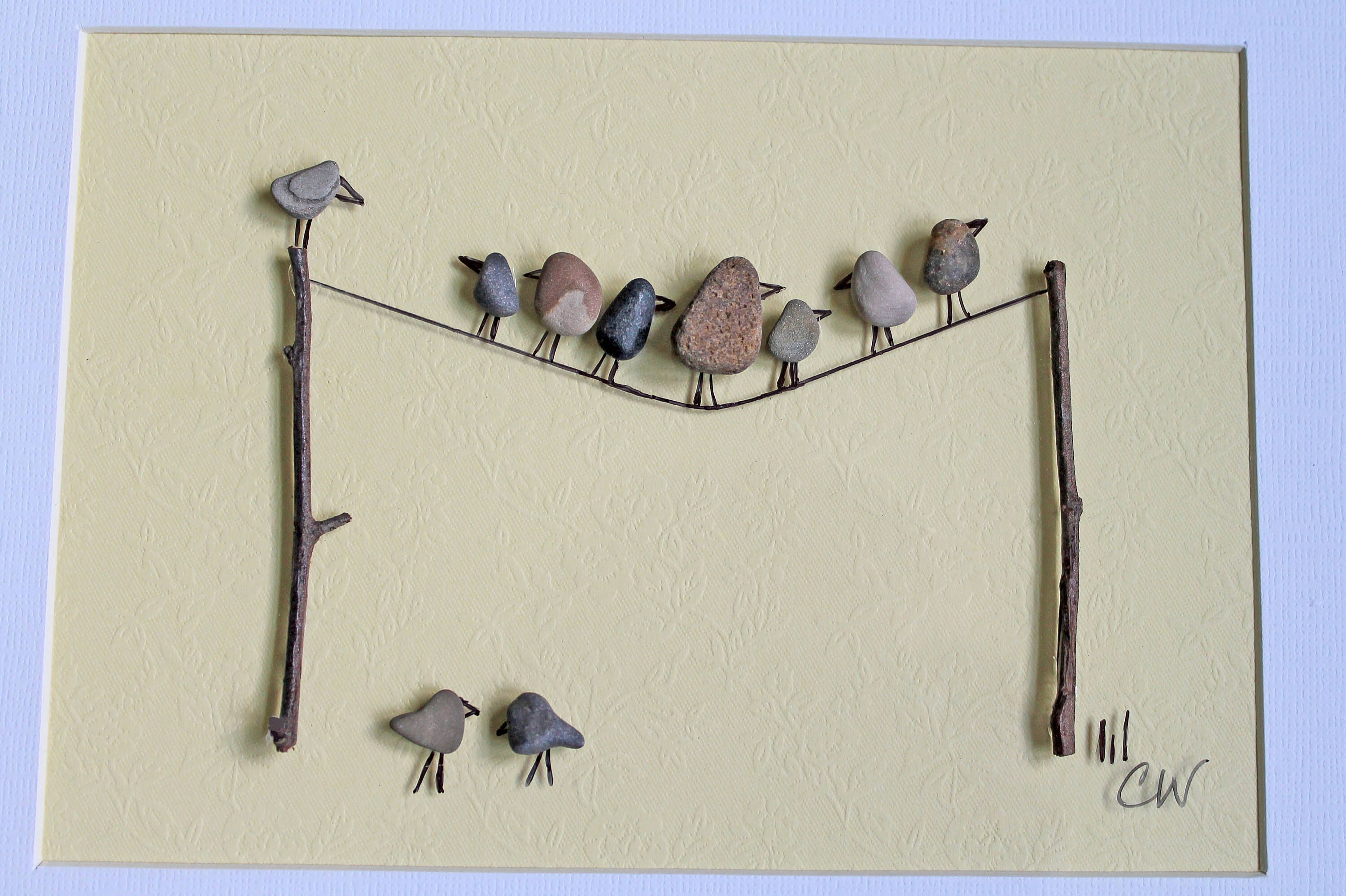 Birds On a Line - Pebble Art 11 x 13 Wall Art | Pinterest ...