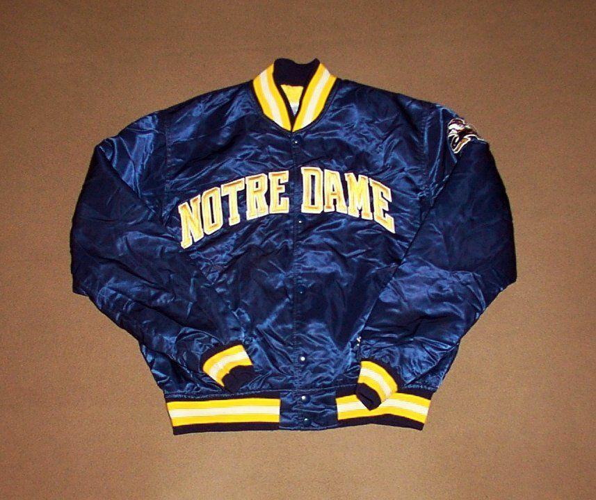 Vintage Notre Dame Jacket Starter Fighting Irish Large Satin