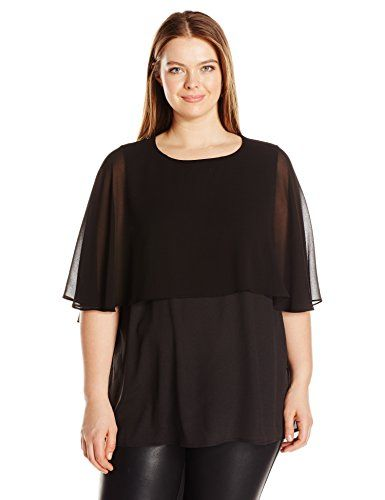 0df9e7874e4 Calvin Klein Womens Plus Size Short Sleeve Ruffle Top Black 1X     Visit the