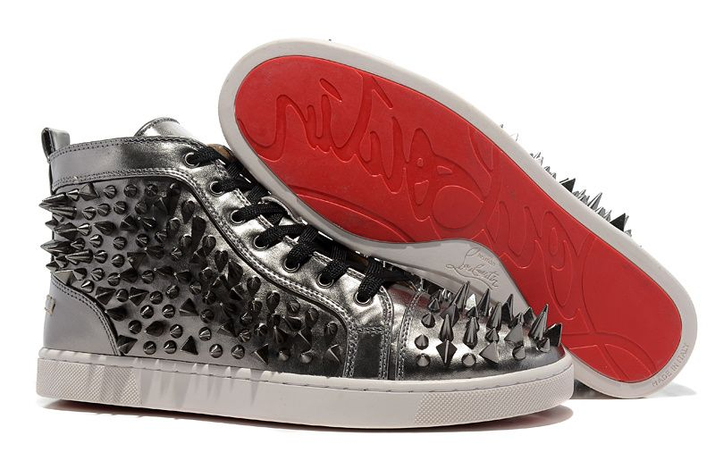 Christian Louboutin Louis Spikes Mens High Top Leather Sneakers Gun Color