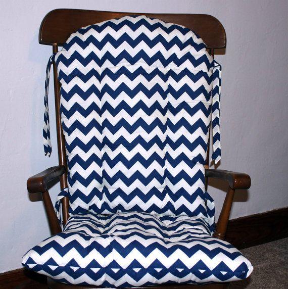 Navy Chevron Custom Rocking Chair Cushions By MayberryandMain