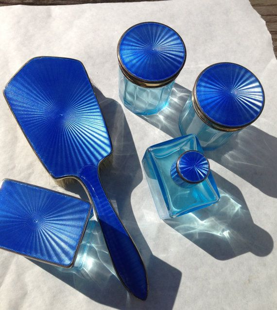 ENAMEL STERLING CRYSTAL vanity set 1920s marked by FirstBids