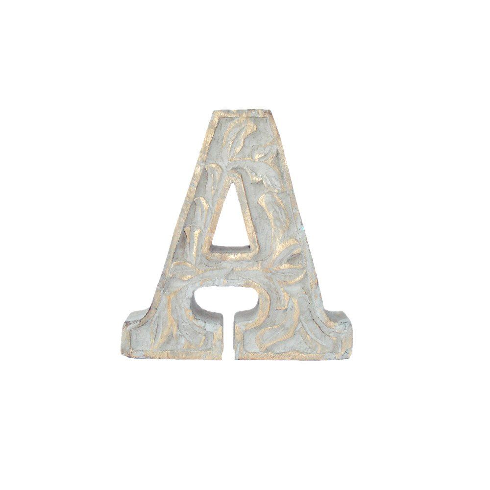 Wooden Carved Letter A White Distress Finish  Kids Bedroom Decor