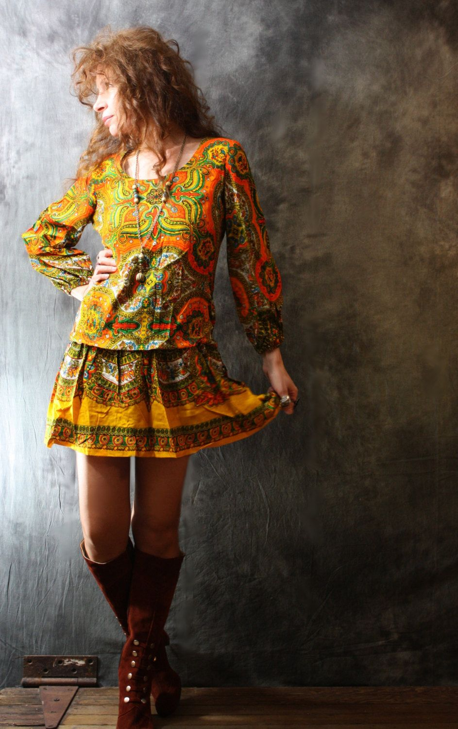 Vintage 1960s Psychedelic Paisley GoGo  Dress with Drop Waist. $67.00, via Etsy.