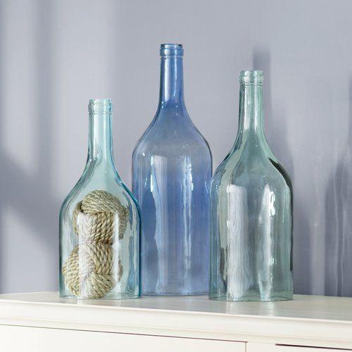 Rowlett 3 Piece Cloche Bottle Vase Set Vase Set Bottle Vase Table Vases
