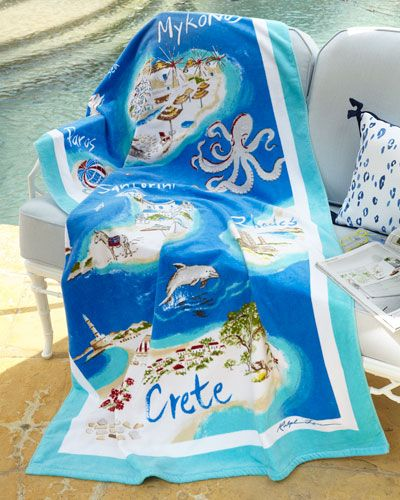 "H85ES Ralph Lauren Greek Isles Beach Towel, 40"" x 70"""