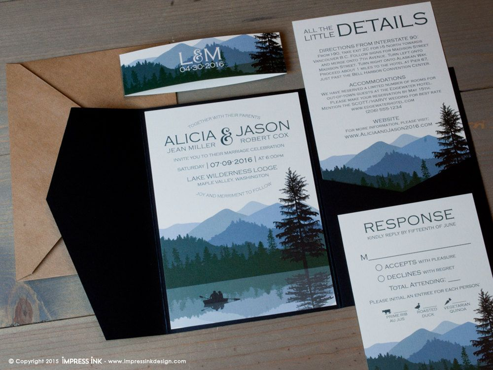 sample spanish wedding invitations%0A Lake Wilderness Wedding Invitation Sample   Flat or Pocket Fold Style    Rustic Mountains and Trees