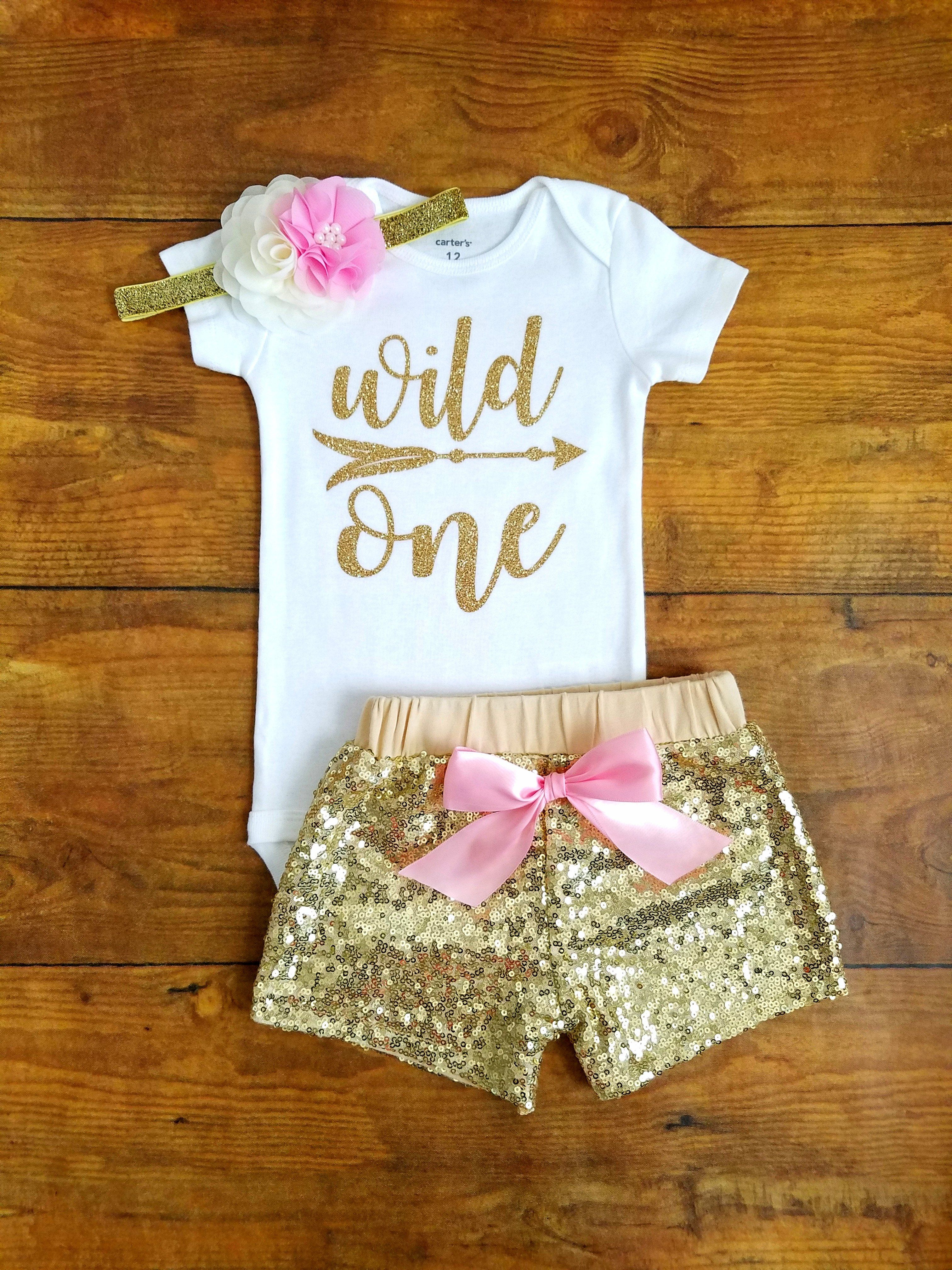 82b5e17ee Wild One First Birthday Outfit Girl Pink And Gold in 2019 ...