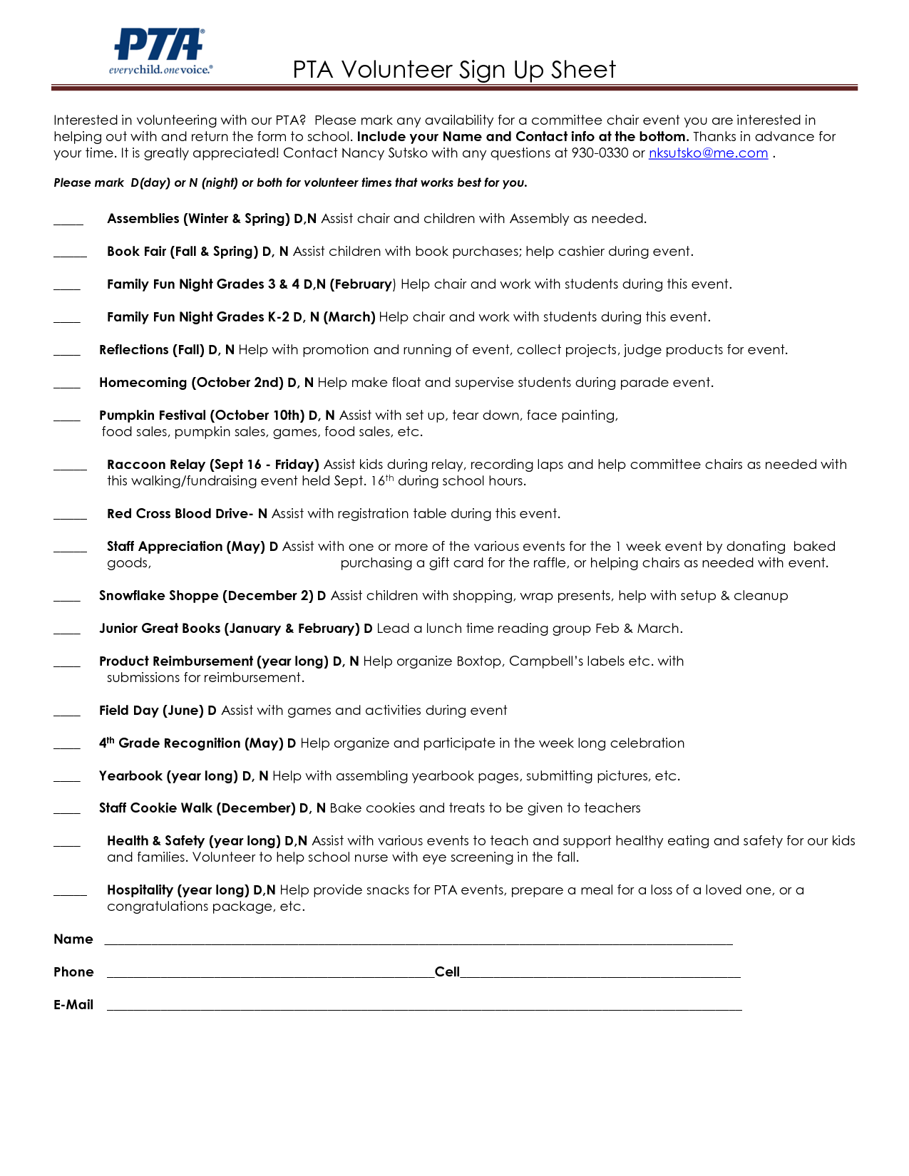 volunteer sheets