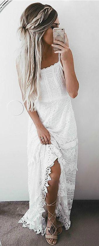 white lace maxi - boho lovin