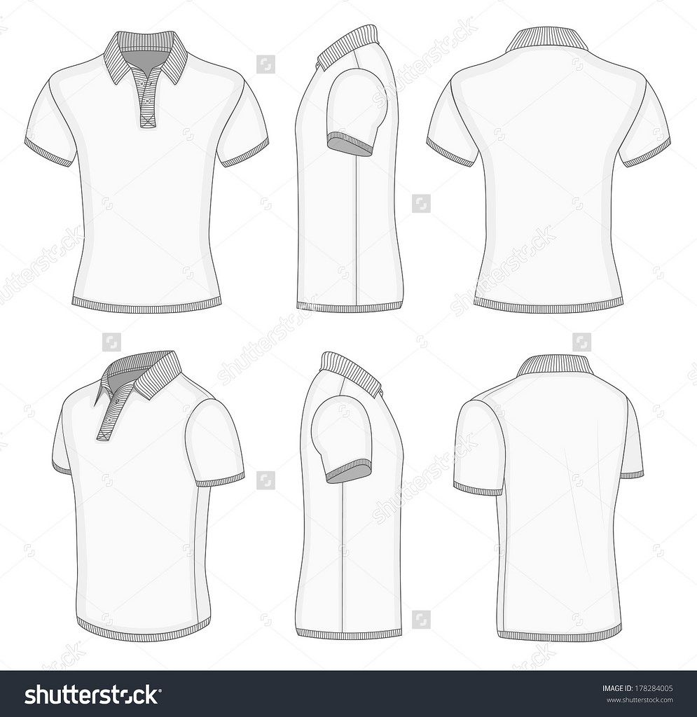 Stock Vector All Views Men S White Short Sleeve Polo Shirt Design