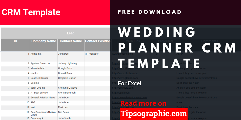 wedding planner crm template for excel free download project
