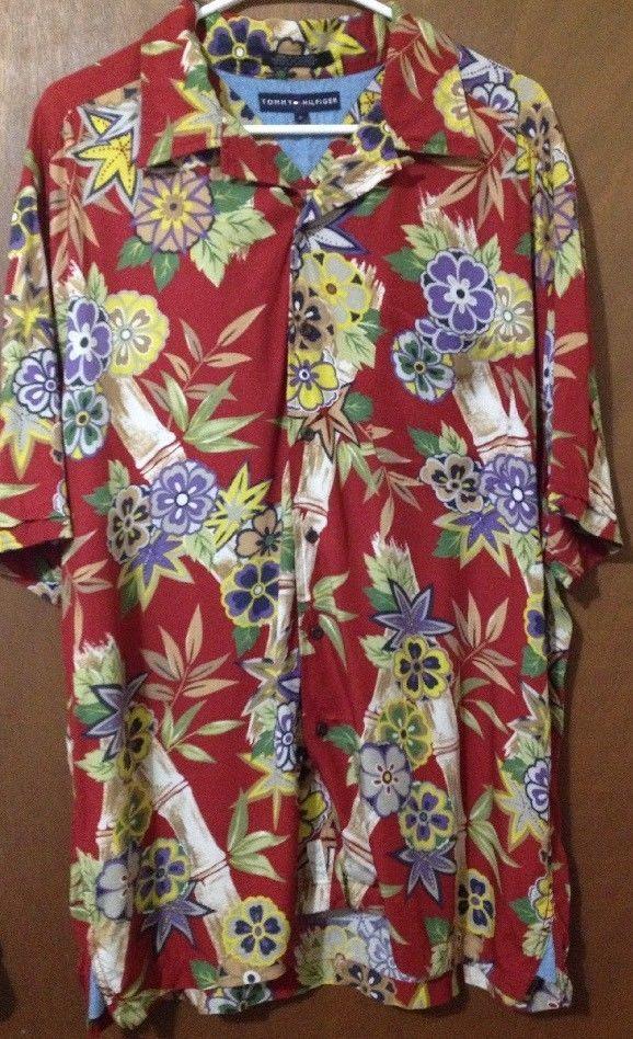 Tommy Hilfiger Men's Red Hawaiian Shirt Bamboo & Flower
