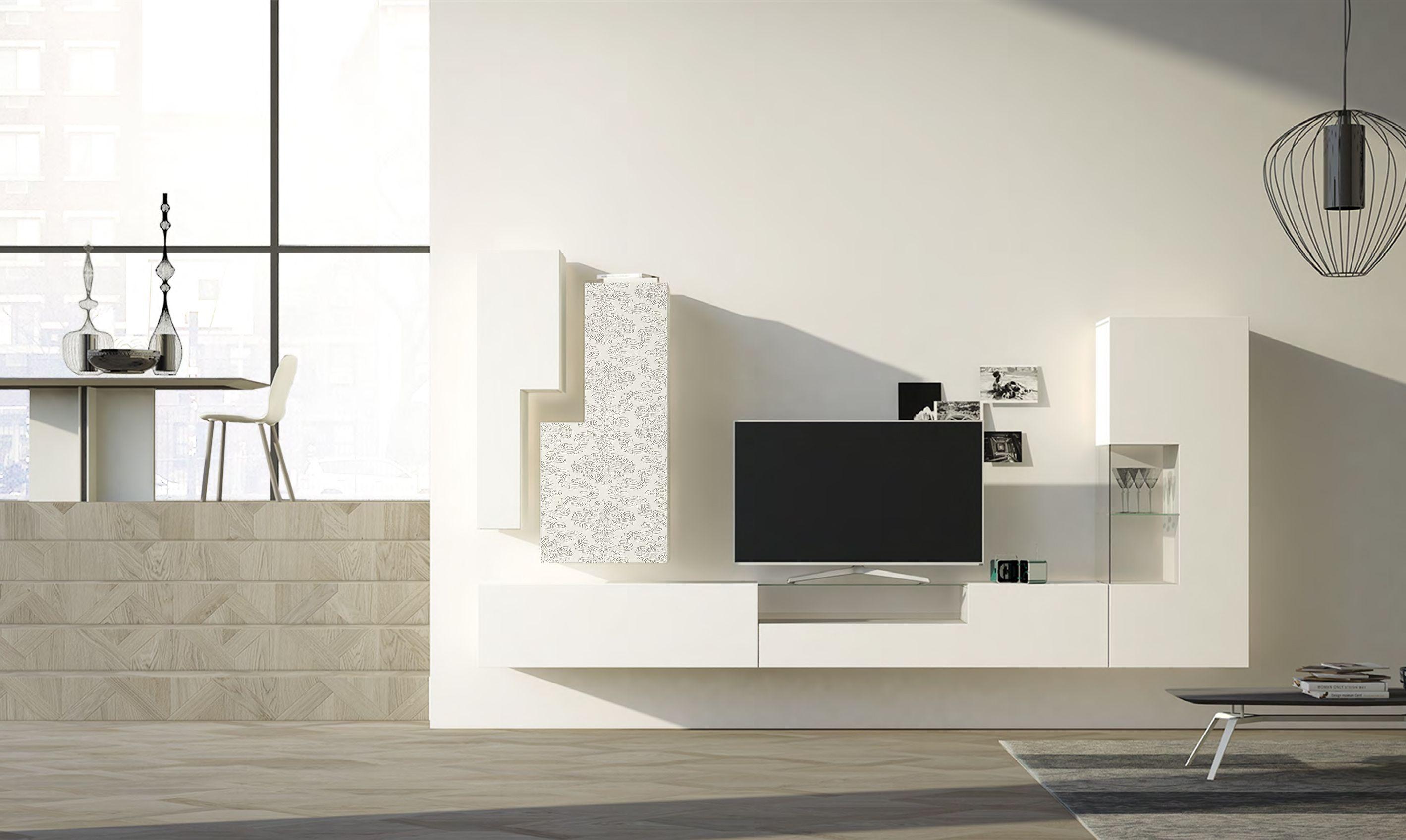 Credenza A Muro Moderna : Parete attrezzata componibile moderna bianca con decorazioni